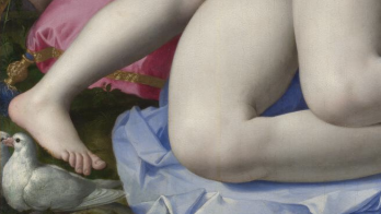 two doves at his feet signify 'amorous caresses'
