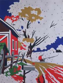 "Do It Yourself (Landscape)1962Acrylic, pencil and Letraset on linen69 3/4 x 54 1/8"" (177.2 x 137.5 cm)Museum Ludwig Cologne. Donation Ludwig.© 2007 Andy Warhol Foundation for the Visual Arts / Artists Rights Society (ARS), New York"